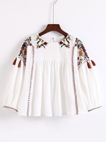 Flower Embroidery Keyhole Back Top With Fringe