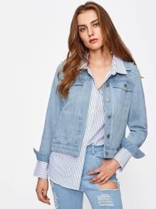 Veste en jeans avec perle