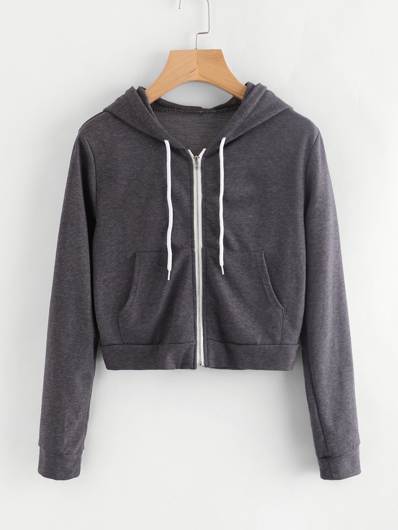 Pocket Front Heather Knit Crop Hoodie heather plus size hoodie