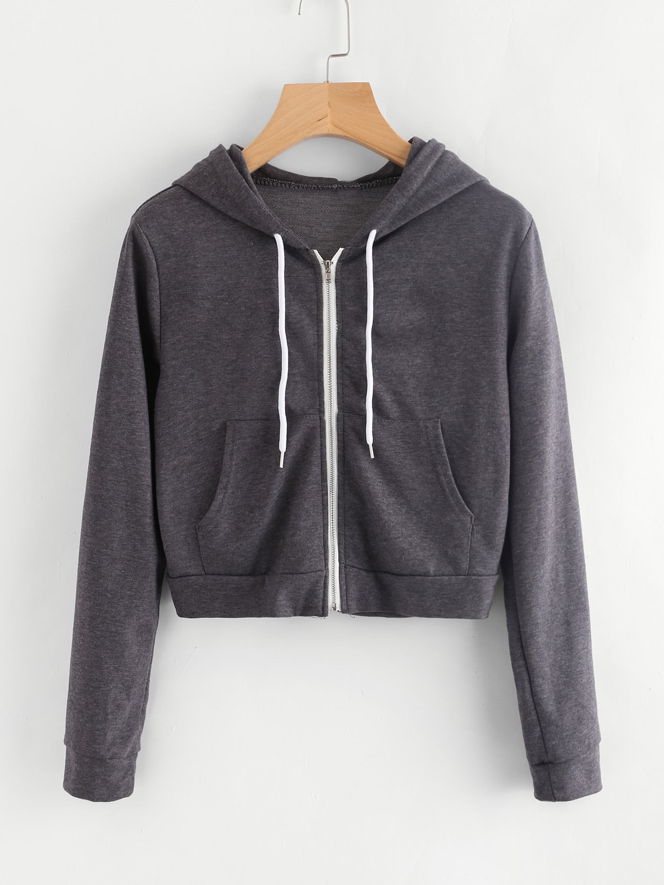 Pocket Front Heather Knit Crop Hoodie