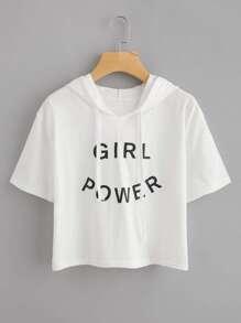 Hooded Letter Print T-shirt