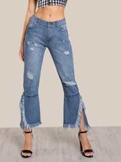 Distressed Flare Hem Pants DENIM