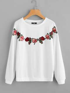 Embroidered Rose Patch Drop Shoulder Pullover