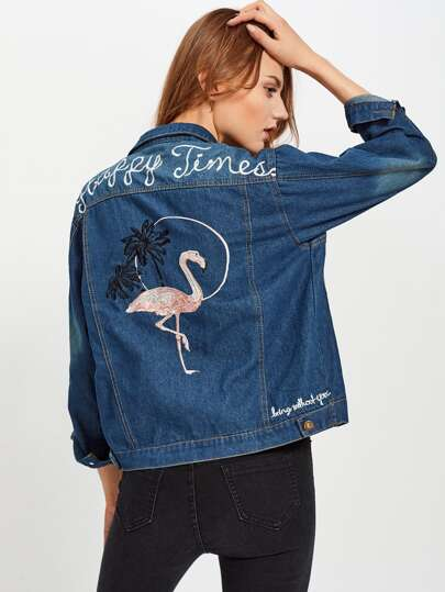 Flamingo Embroidered Back Denim Jacket
