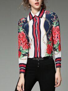 قميص بطباعة زهور وسلسلة