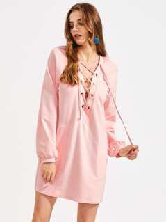 Grommet Lace Up Plunge Neck Raglan Sleeve Dress