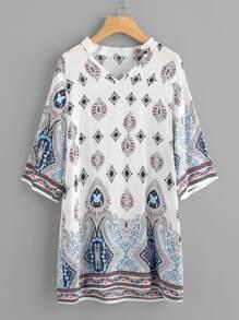 V-neckline Ornate Print Dress