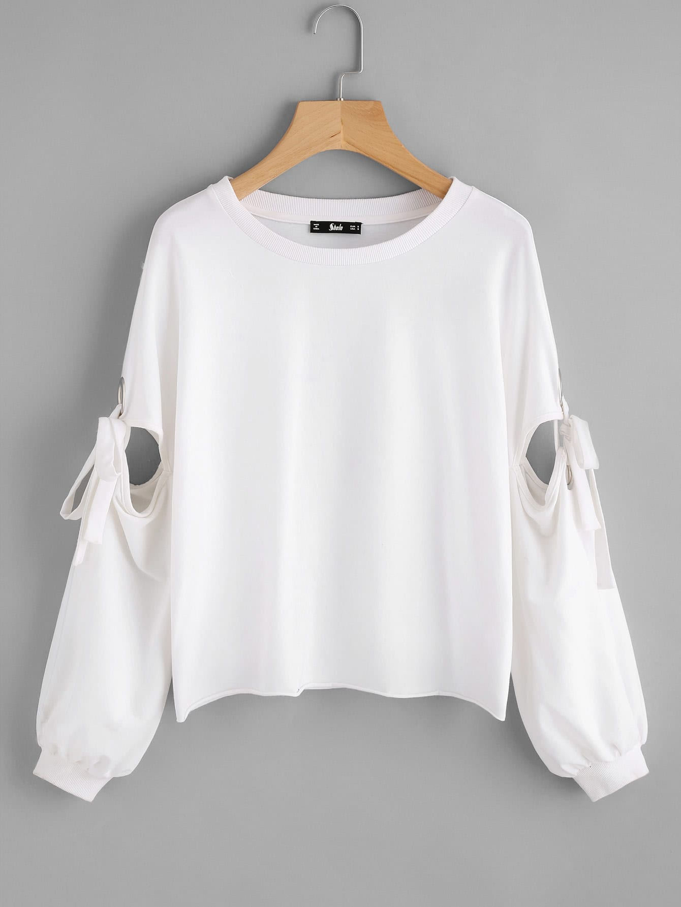 Grommet Detail Tied Open Sleeve Sweatshirt drop shoulder grommet tie detail sweatshirt