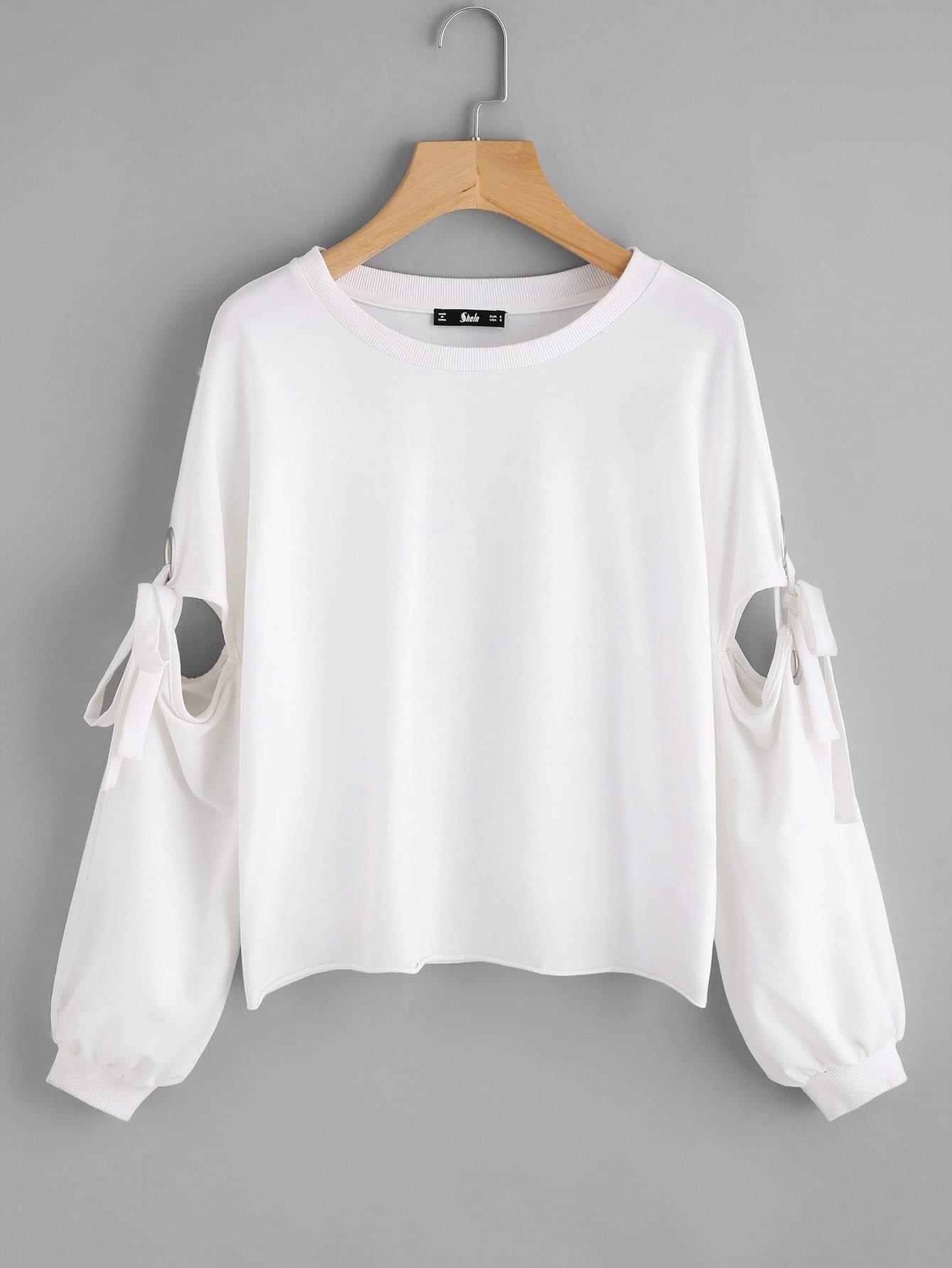 Grommet Detail Tied Open Sleeve Sweatshirt frill sleeve tape detail sweatshirt