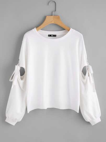 Grommet Detail Tied Open Sleeve Sweatshirt