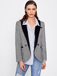Velvet Shawl Collar Plaid Blazer