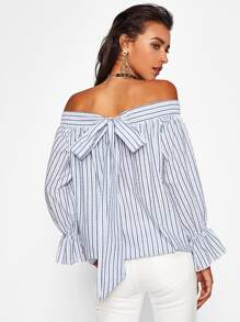 Shirred Bardot Bow Tie Back Vertical Striped Top