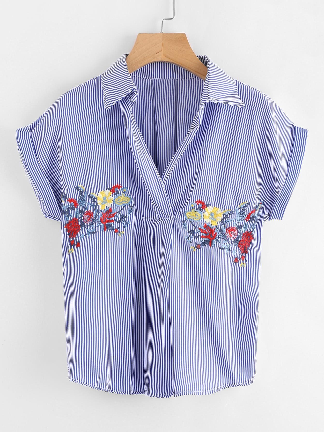 Блузки в полоску с вышивкой 89