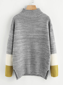 Striped Sleeve Vented Side Space Dye Jumper