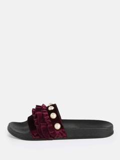 Velvet Ruffle Band Slides WINE