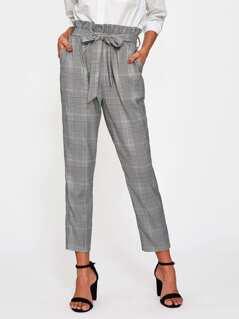 Ruffle Waist Self Belt Plaid Peg Pants
