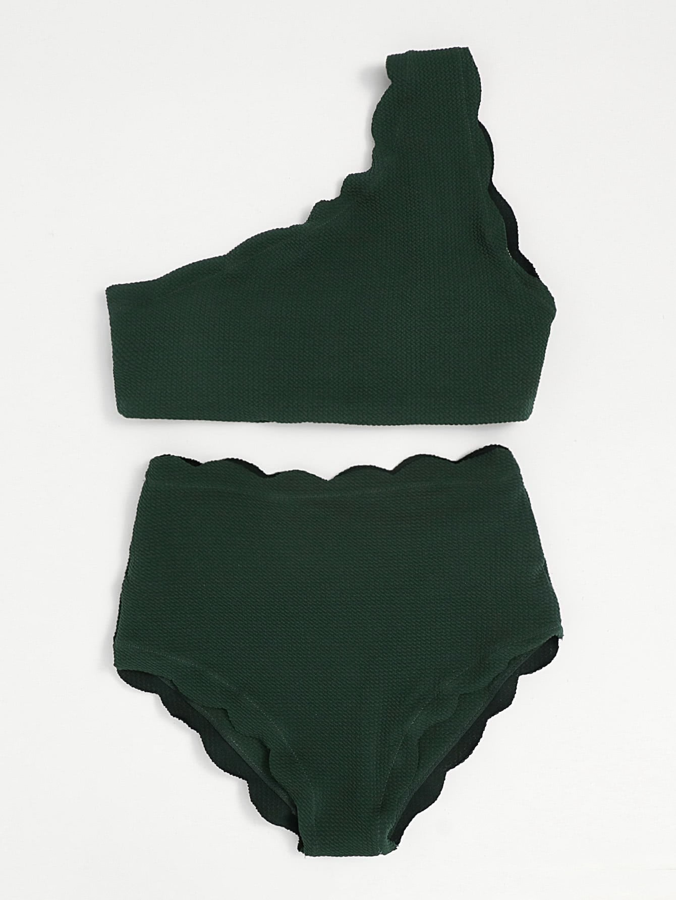 Фото Scalloped Trim One Shoulder High Waist Bikini Set checker knot bikini set