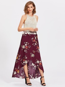 Flower Print Belted Overlap Skirt
