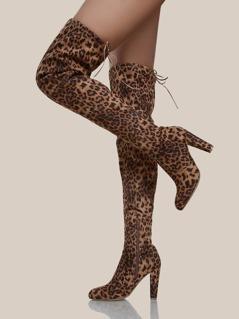 Cheetah Print Thigh High Boots TAN