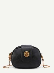 Triple Zipper Buckle Closure Chain Bag