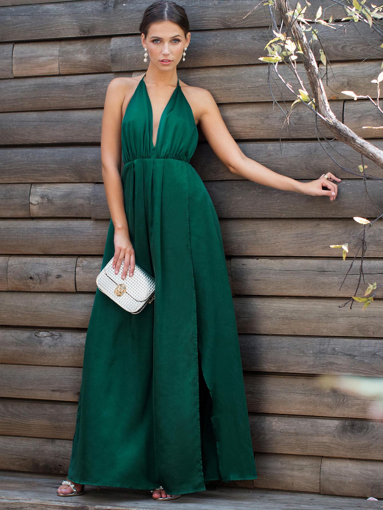 Plunge Neck Crisscross Back High Slit Wrap Cami Dress цены