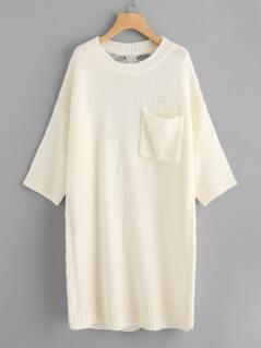 Single Pocket Laddering Back Sweater Dress