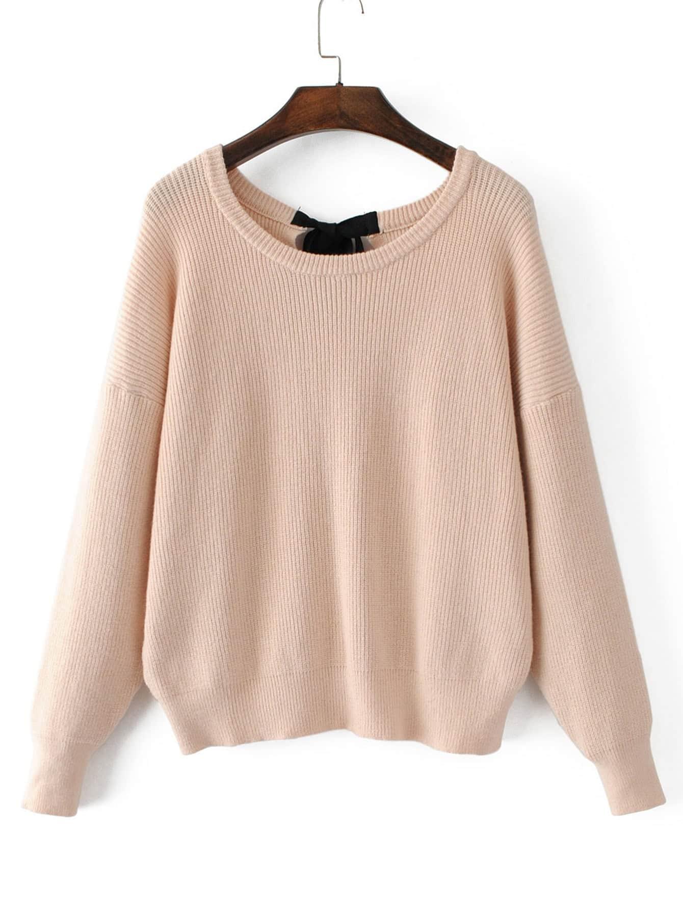 Drop Shoulder Ribbed Knit Sweater RKNI170829204