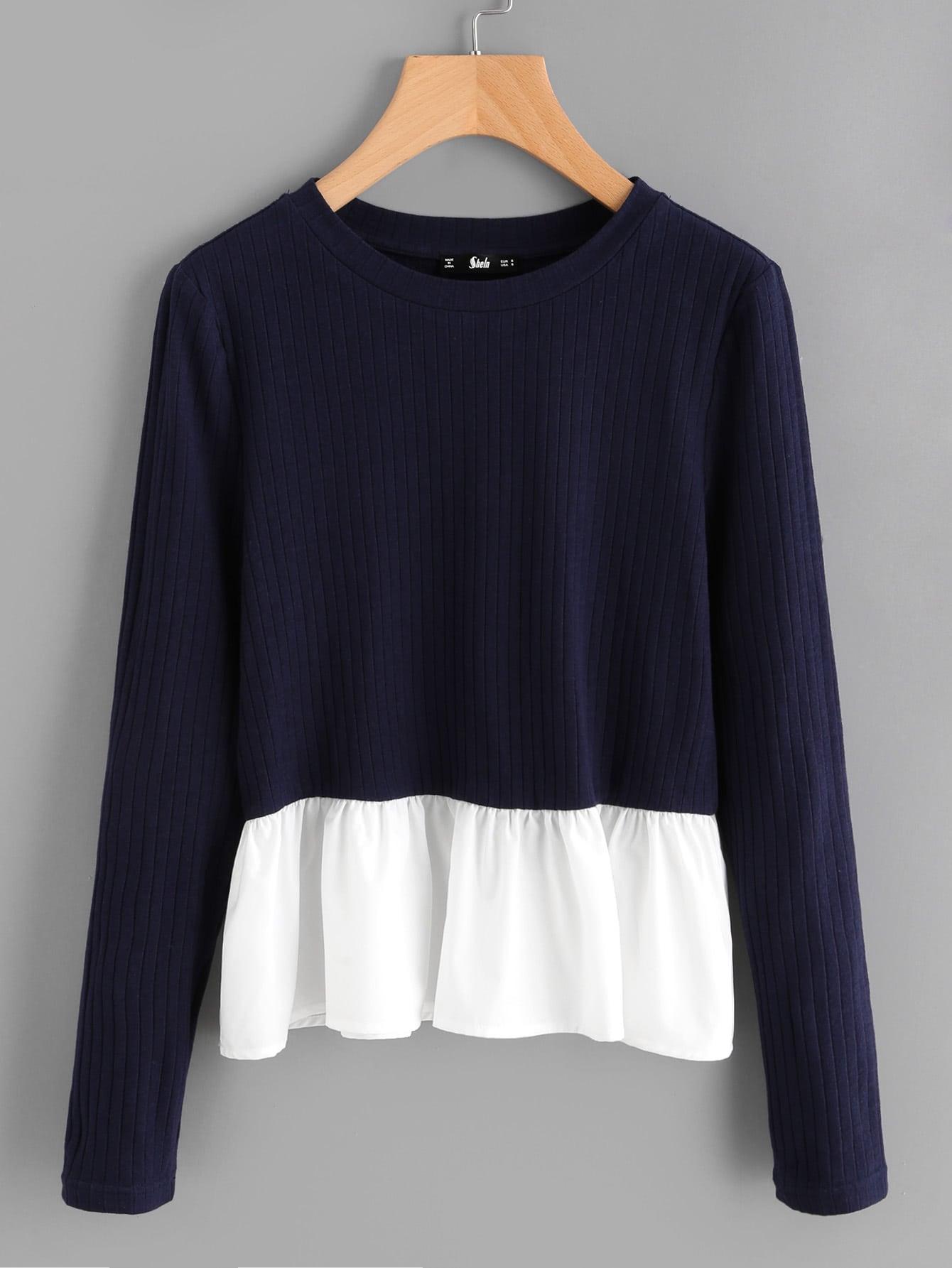 Contrast Frill Trim Rib Knit T-shirt tee170803705