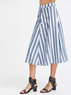 Striped Button Front Circle Skirt