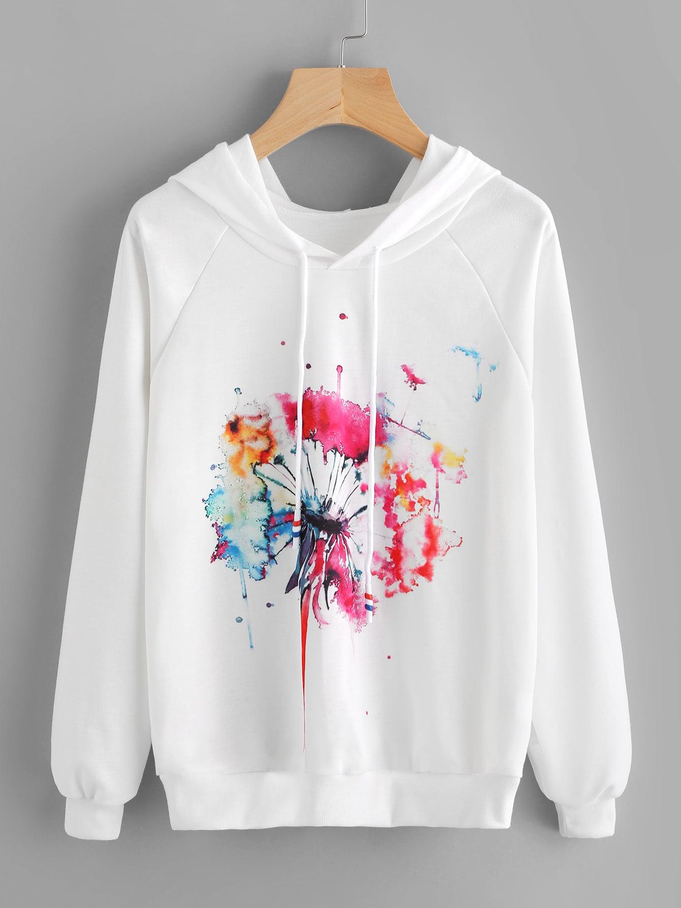 Watercolor Painting Print Raglan Sleeve Hoodie letter print raglan hoodie