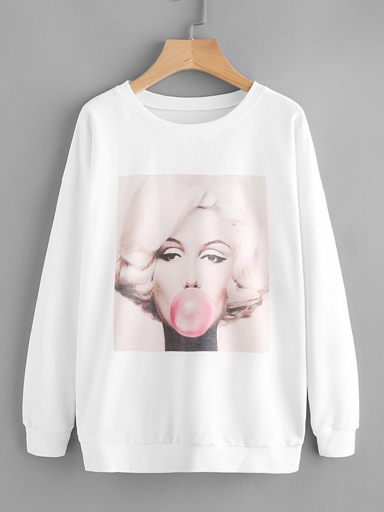 Drop Shoulder Graphic Print Sweatshirt drop shoulder crop sweatshirt