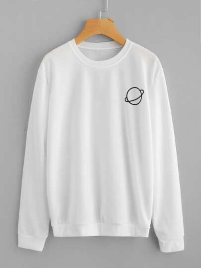 Sweatshirt mit Planet Muster
