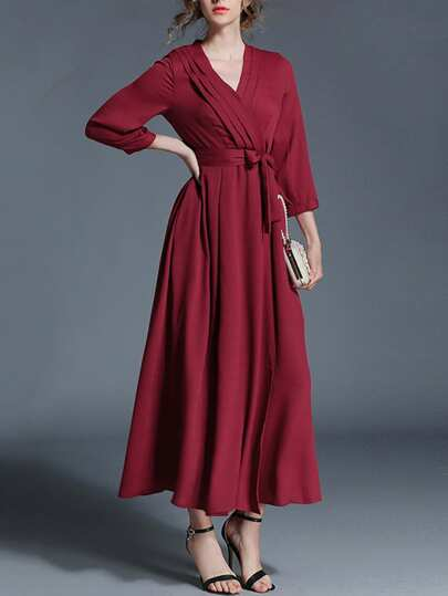Tie Waist Surplice Front Dress