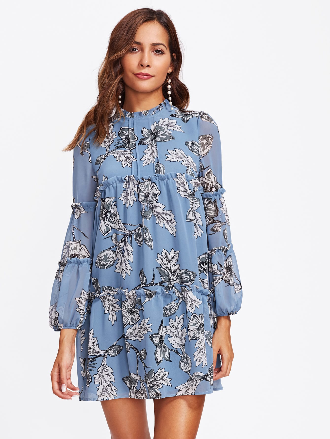 Frill Detail Bishop Sleeve Tiered Botanical Dress frill layered pearl detail sweatshirt dress