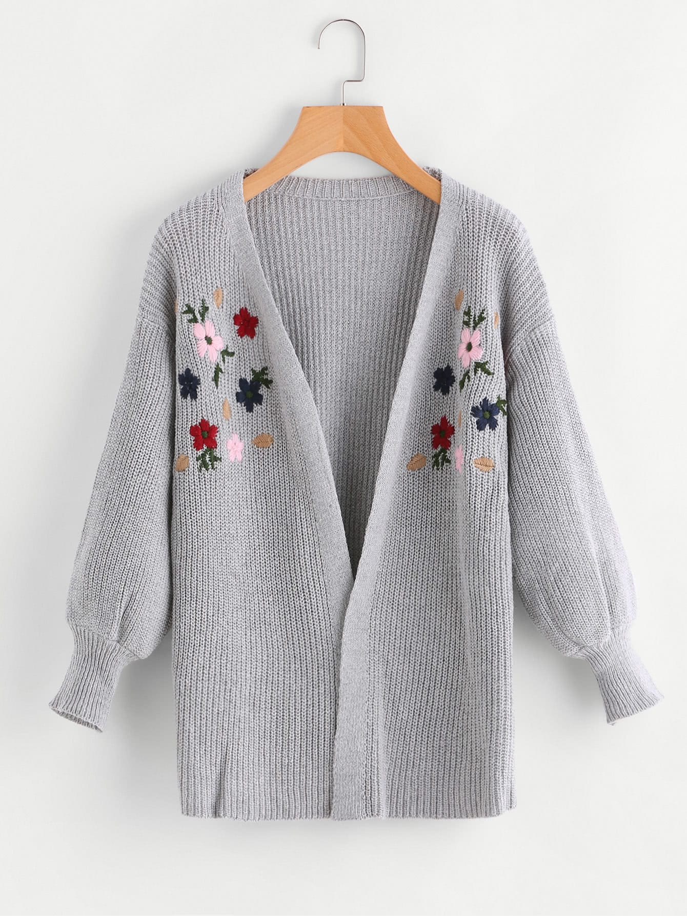 Flower Embroidered Drop Shoulder Sweater cartoon embroidered sweater
