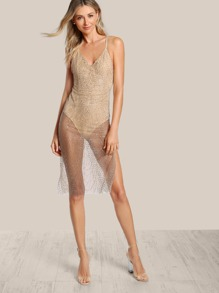 Spaghetti Strap Glitter Bodysuit Dress GOLD