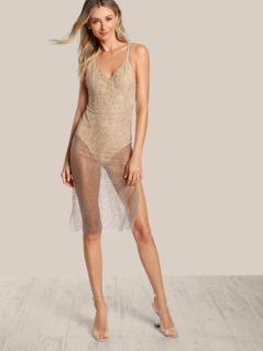 Spaghetti Strap Glitter Bodysuit Dress GOLD