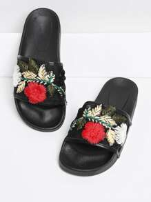 Flower Embroidery Slip On Sandals