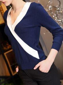 V Neck Color Block Sweater