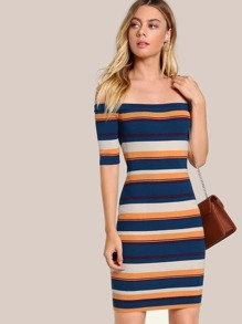 Off Shoulder Striped Bodycon Dress GREEN
