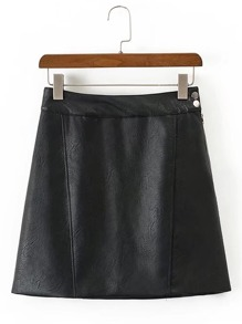 Seam Detail PU A Line Skirt