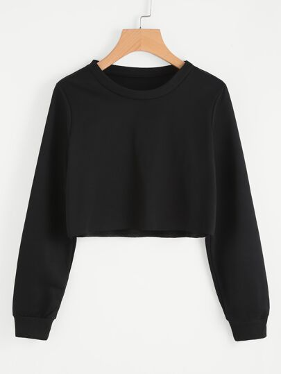 Basic Pullover Crop Sweatshirt