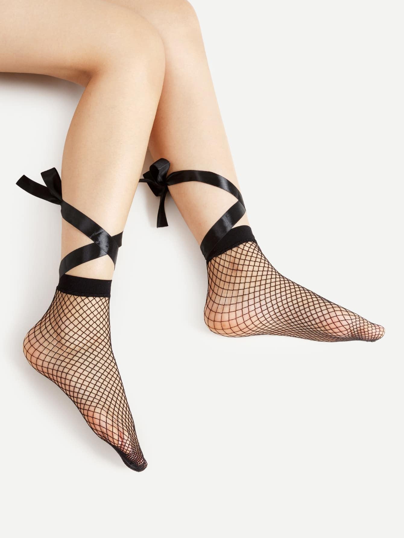 Lace Up Fishnet Ankle Socks