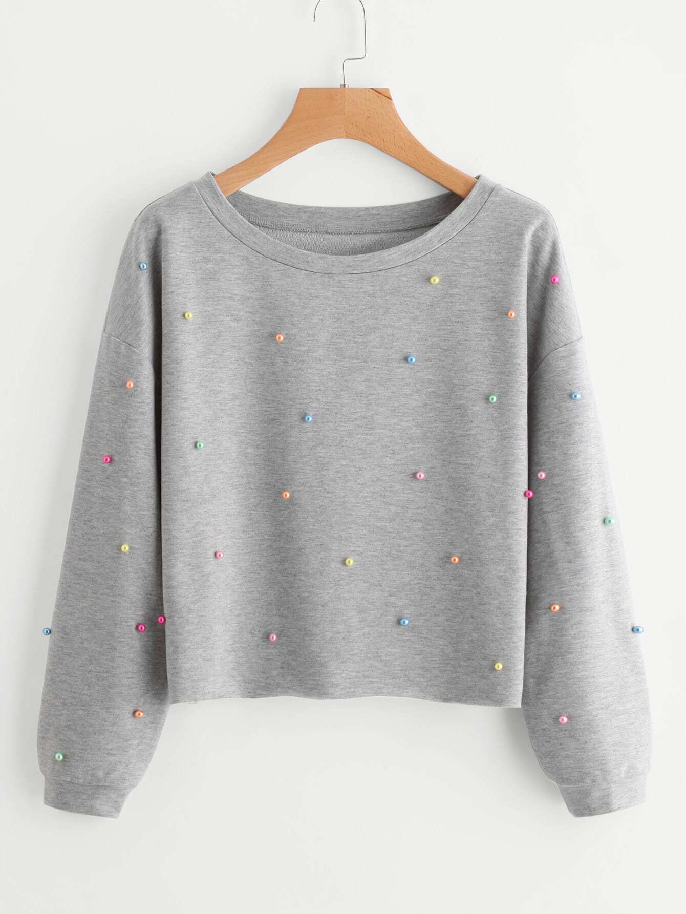 Colorful Pearl Beading Heather Knit Pullover кенгуру huf genuine pullover hood gray heather