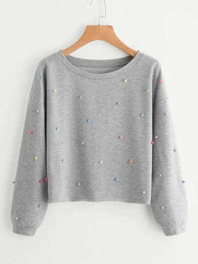 Colorful Pearl Beading Heather Knit Pullover