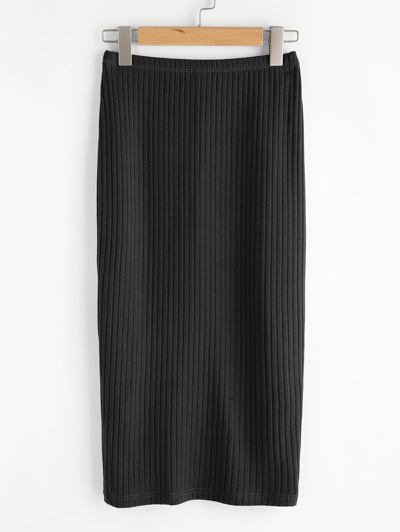 Vented Back Rib Knit Skirt