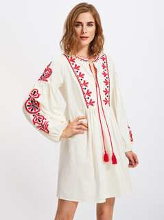 Tasseled Tie Lantern Sleeve Ukrainian Embroidered Dress