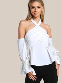 Overlap Front Fluted Sleeve Halter Bardot Top