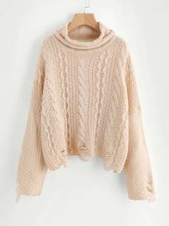 Mixed Knit Distressed Jumper