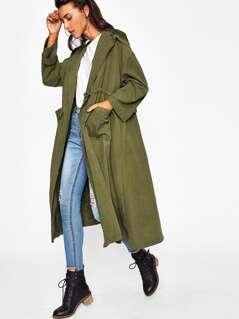 Shawl Collar Drawstring Longline Coat
